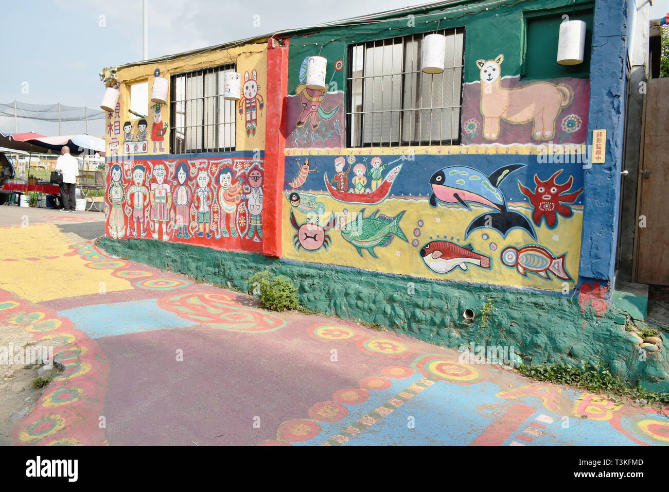 Taichung Taiwan March 29, 2019 : Caihongjuan or rainbow village old house of Taiwanese veteran renovation by painting and revive to new destinatin lan - Stock Image