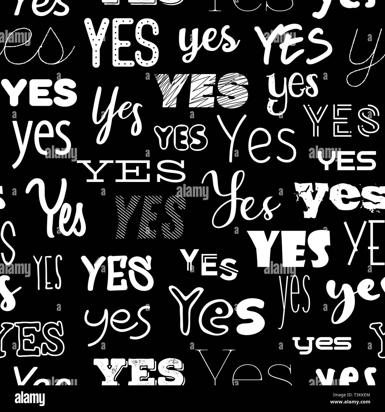 YES various lettering. Abstract typographic graphic background. Seamless pattern. - Stock Image