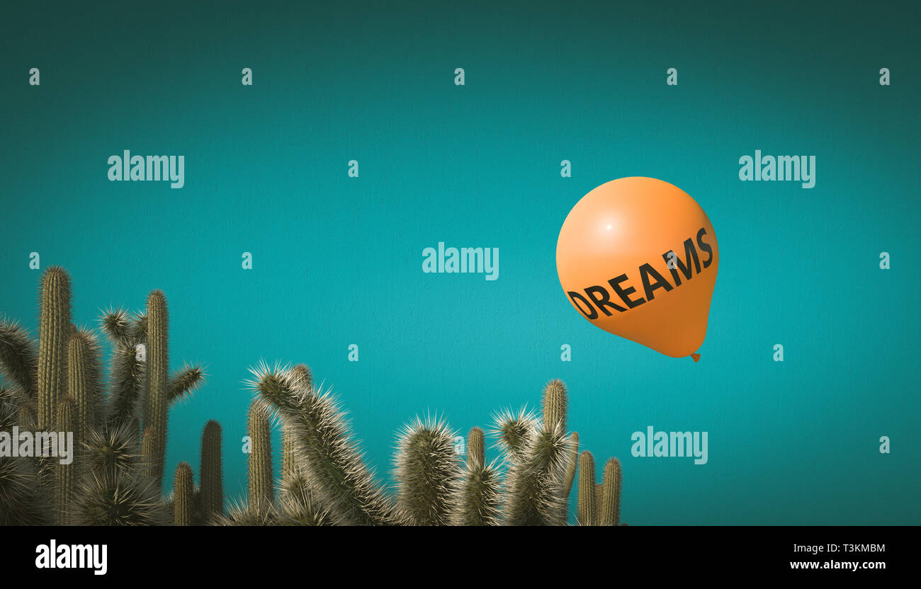 orange balloon with the inscription dreams flies towards a group of cactus. 3d render image. concept of fragility and aversion. - Stock Image