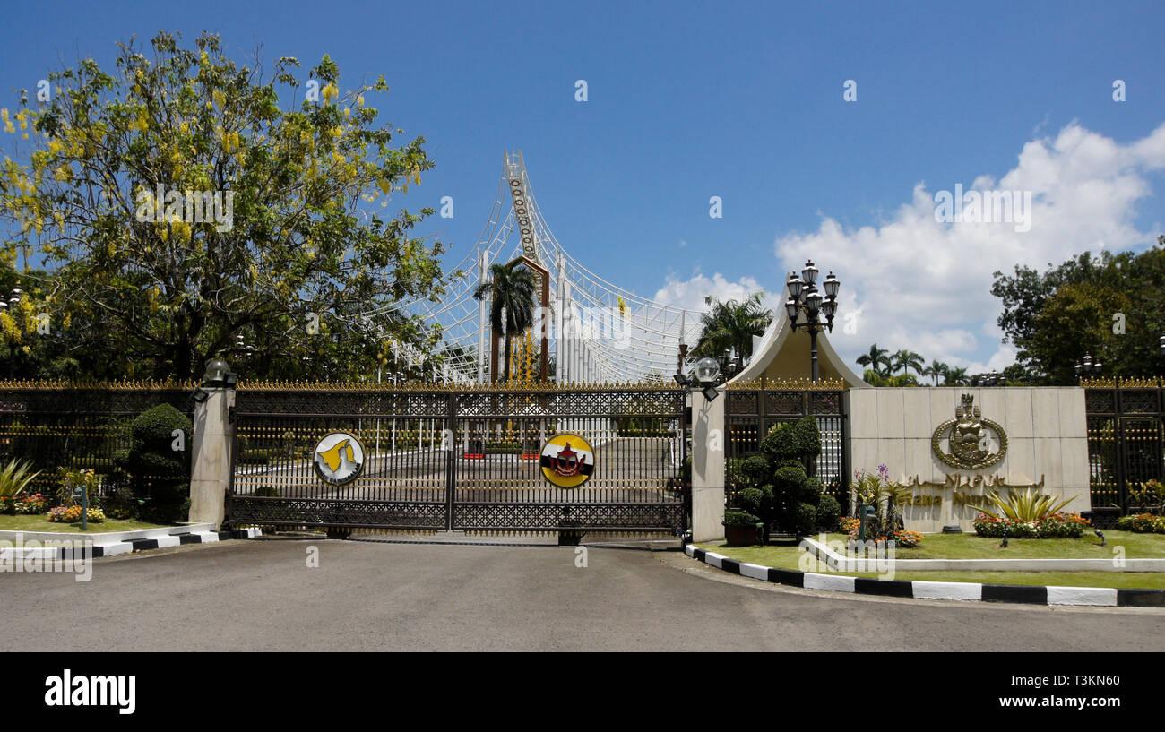 Main entrance to Istana Nurul Iman (Sultan's Palace), Bandar Seri Begawan, Sultanate of Brunei - Stock Image