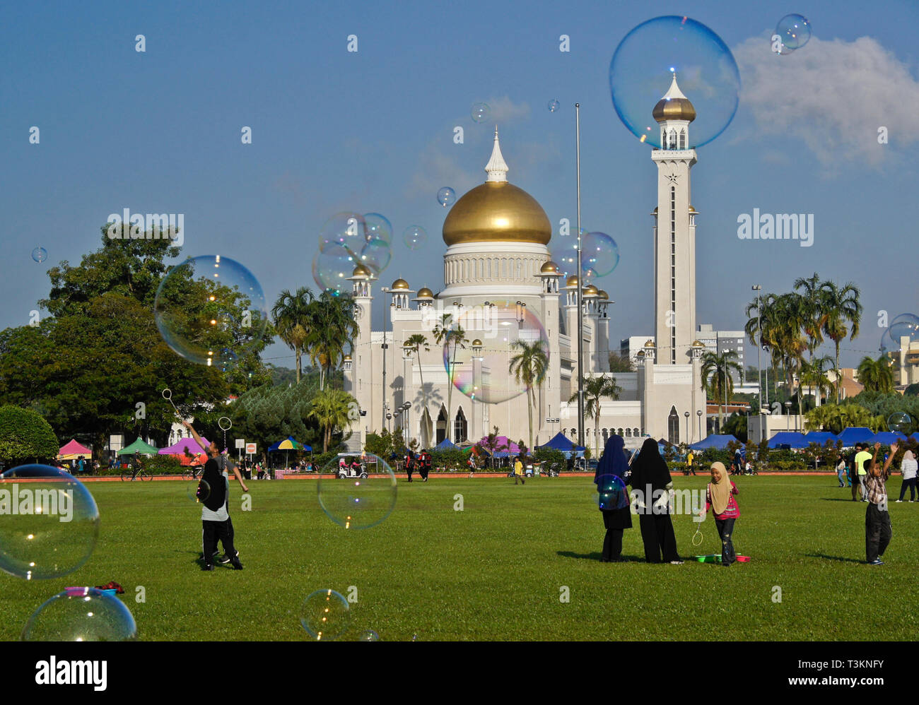 Children make bubbles in the park next to Sultan Oman Ali Saifuddien Mosque, Bandar Seri Begawan, Sultanate of Brunei - Stock Image