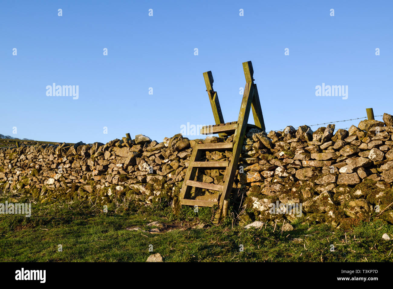 A Ladder stiles crossing a dry stone wall in Derbyshire,UK. - Stock Image
