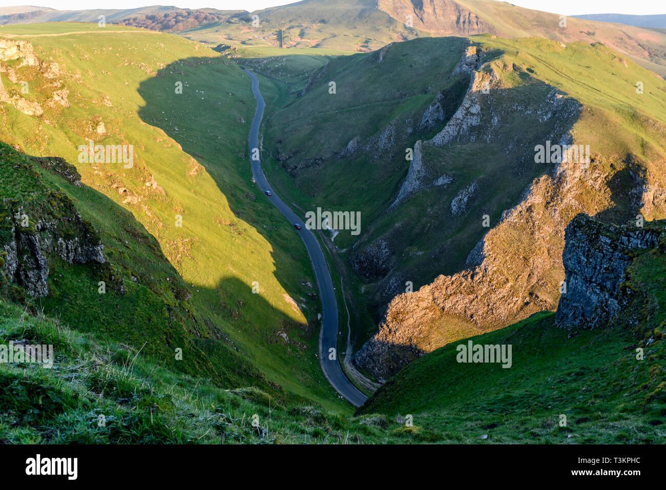 Winnats Pass Limestone Gorge in the High Peak of Derbyshire,UK. - Stock Image