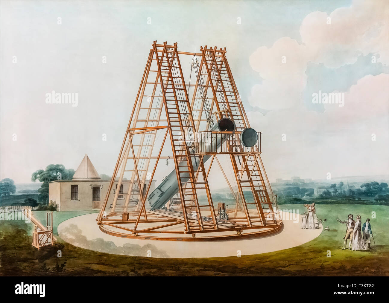 Model drawing of Herschel's Telescope - G. Dupont 1801 watercolor. On display at the Real Academia de Bellas Artes; Royal Academy of Fine Arts Madrid. - Stock Image