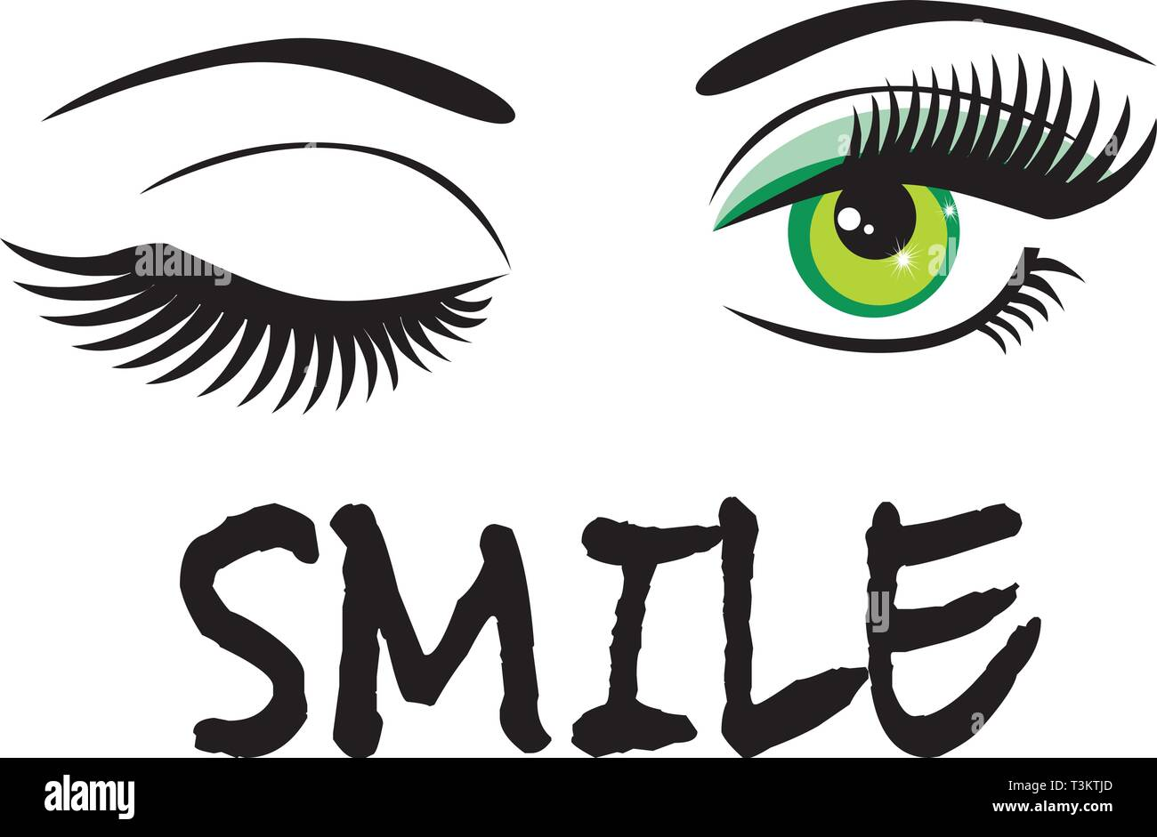 vector illustration of green eyes winking with smile text. - Stock Vector