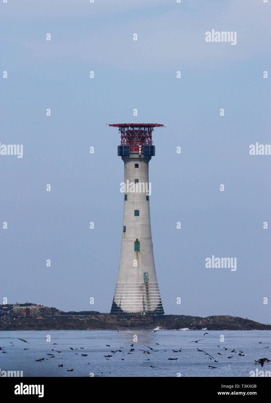 The historical landmark on the Pembrokeshire coastline - Smalls lighthouse - Stock Image
