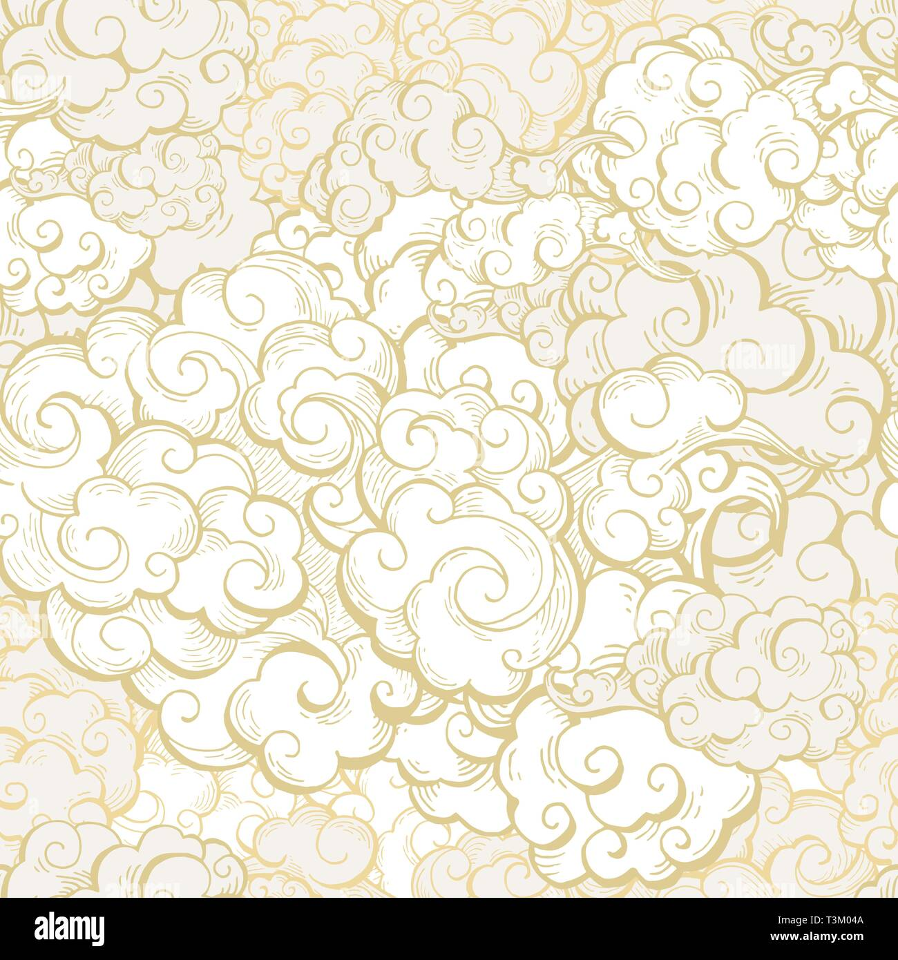 3a566b69425fb Chinese clouds hand drawn vector seamless pattern. Japanese, oriental style  textile ornament. Golden outline swirls, curls background.