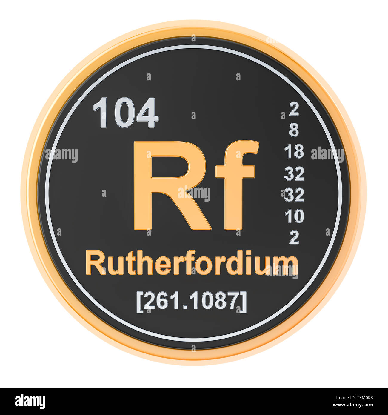 Rutherfordium Rf chemical element. 3D rendering isolated on white background Stock Photo