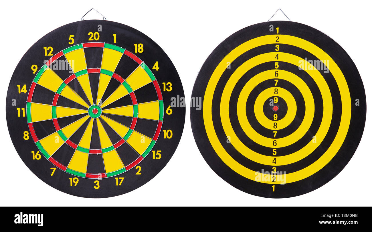 Black and yellow dartboard Isolated on White Background - Stock Image