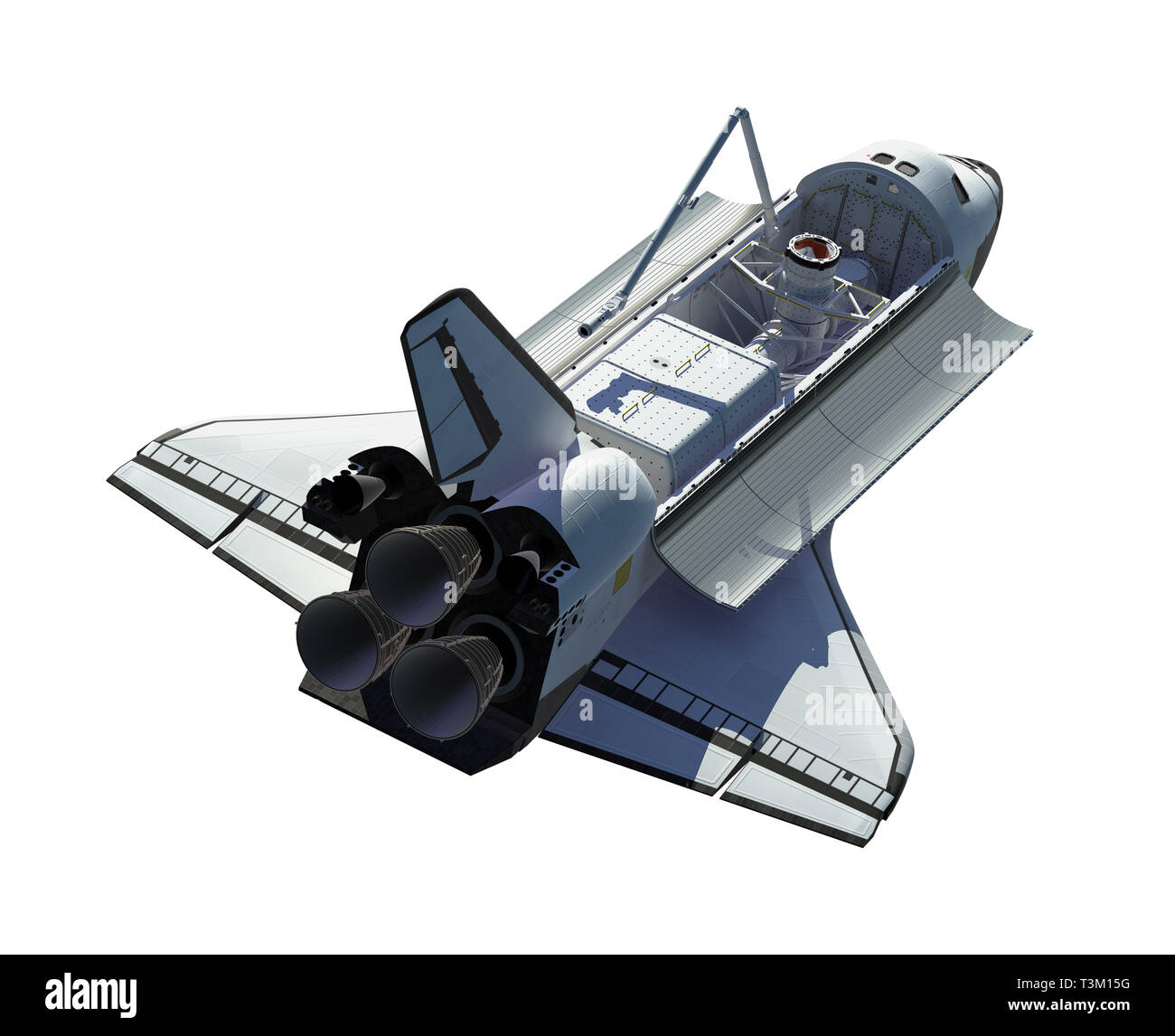 Space Shuttle Isolated On White Background. 3D Illustration. Stock Photo