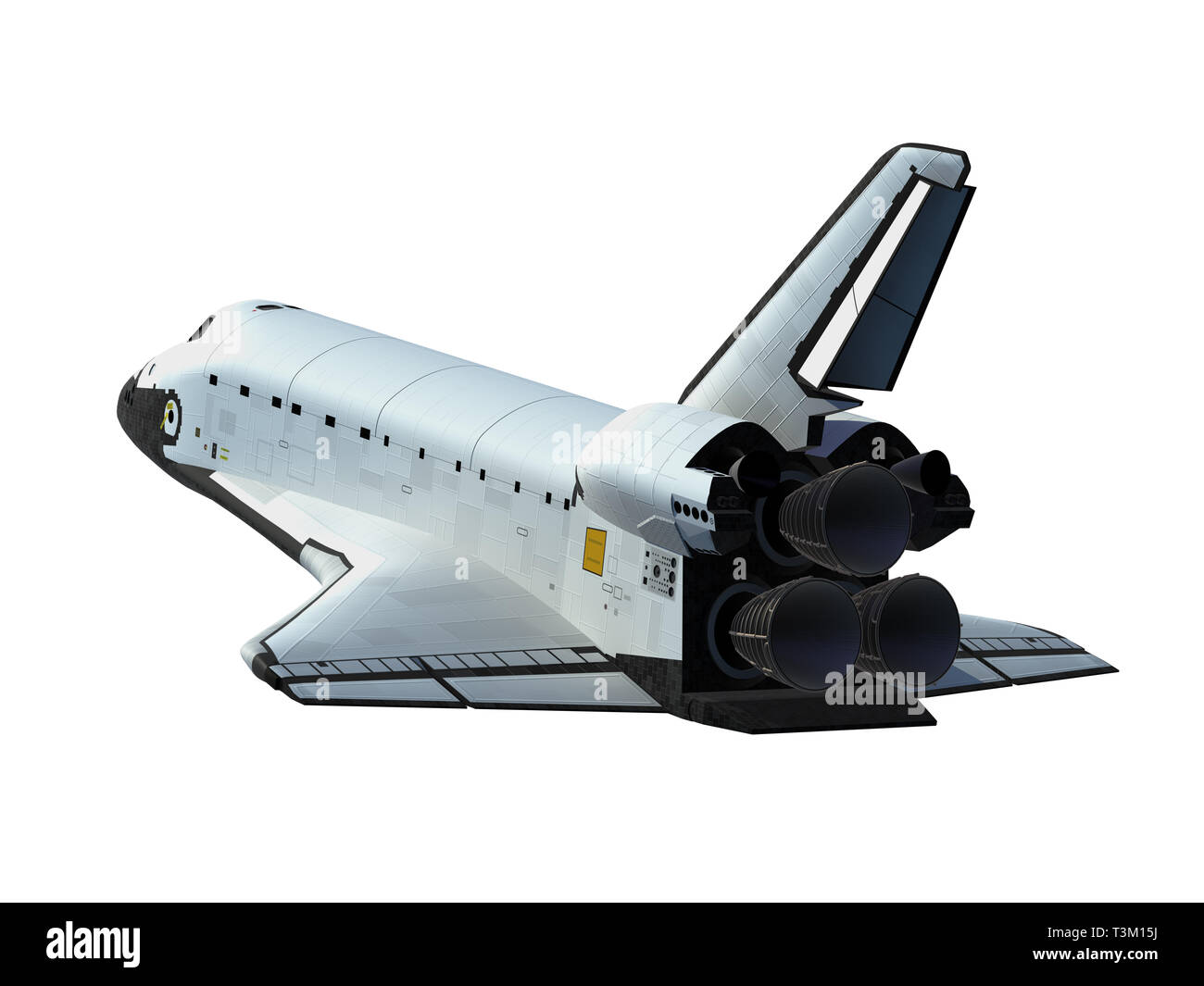 Space Shuttle Isolated On White Background. 3D Illustration Stock Photo