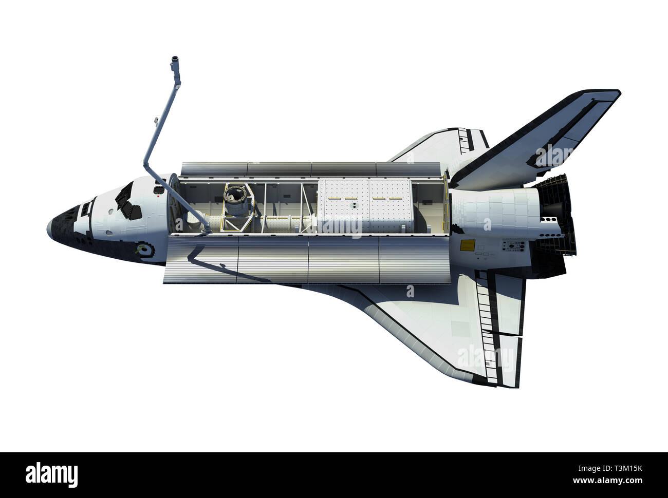 Space Shuttle Orbiter Isolated On White Background. 3D Illustration. Stock Photo