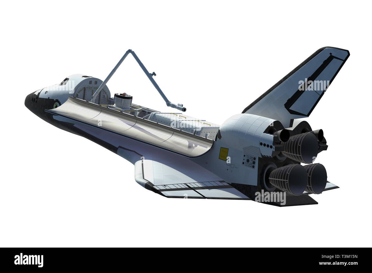 Space Shuttle Orbiter Isolated Over White Background. 3D Illustration. - Stock Image