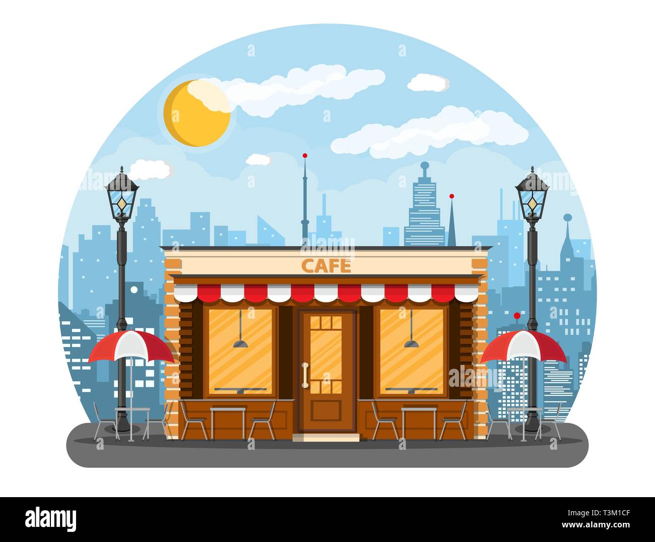Cafe Shop Exterior Street Restraunt Building Cityscape Buildings Sun Clouds Vector Illustration In Flat Style Stock Vector Image Art Alamy