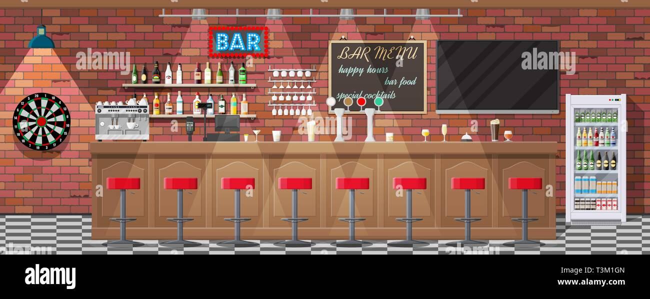 Drinking establishment. Interior of pub, cafe or bar. Bar counter, chairs and shelves with alcohol bottles. Glasses, tv, dart, fridge and lamp. Wooden Stock Vector