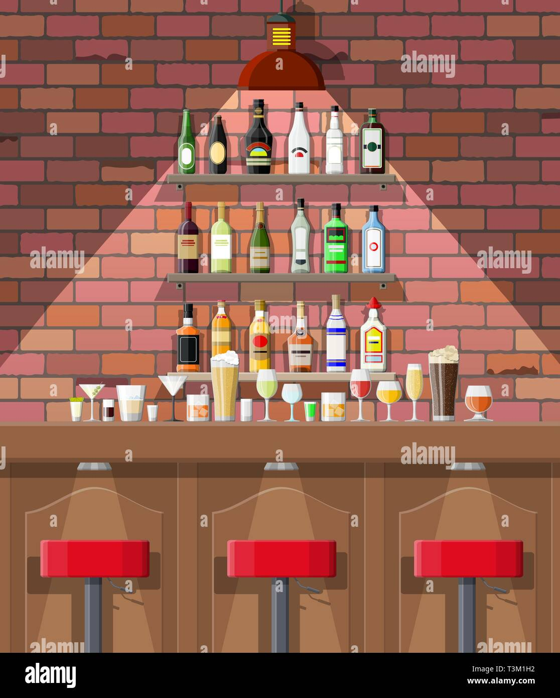 Drinking establishment. Interior of pub, cafe or bar. Bar counter, chairs and shelves with alcohol bottles. Glasses and lamp. Wooden and brick decor.  Stock Vector