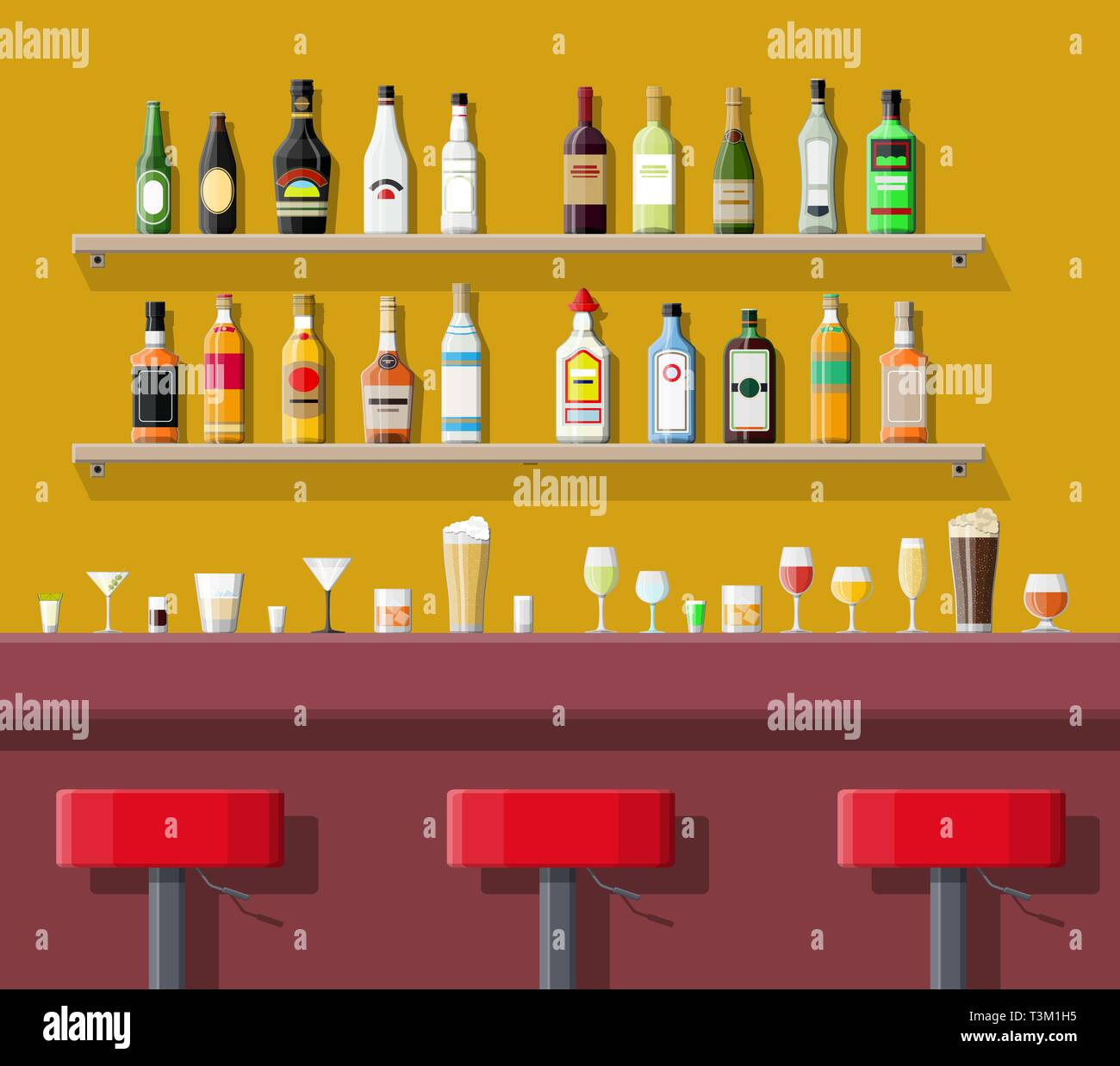 Drinking establishment. Interior of pub, cafe or bar. Bar counter, chairs and shelves with alcohol bottles. Glasses and lamp. Vector illustration in f Stock Vector