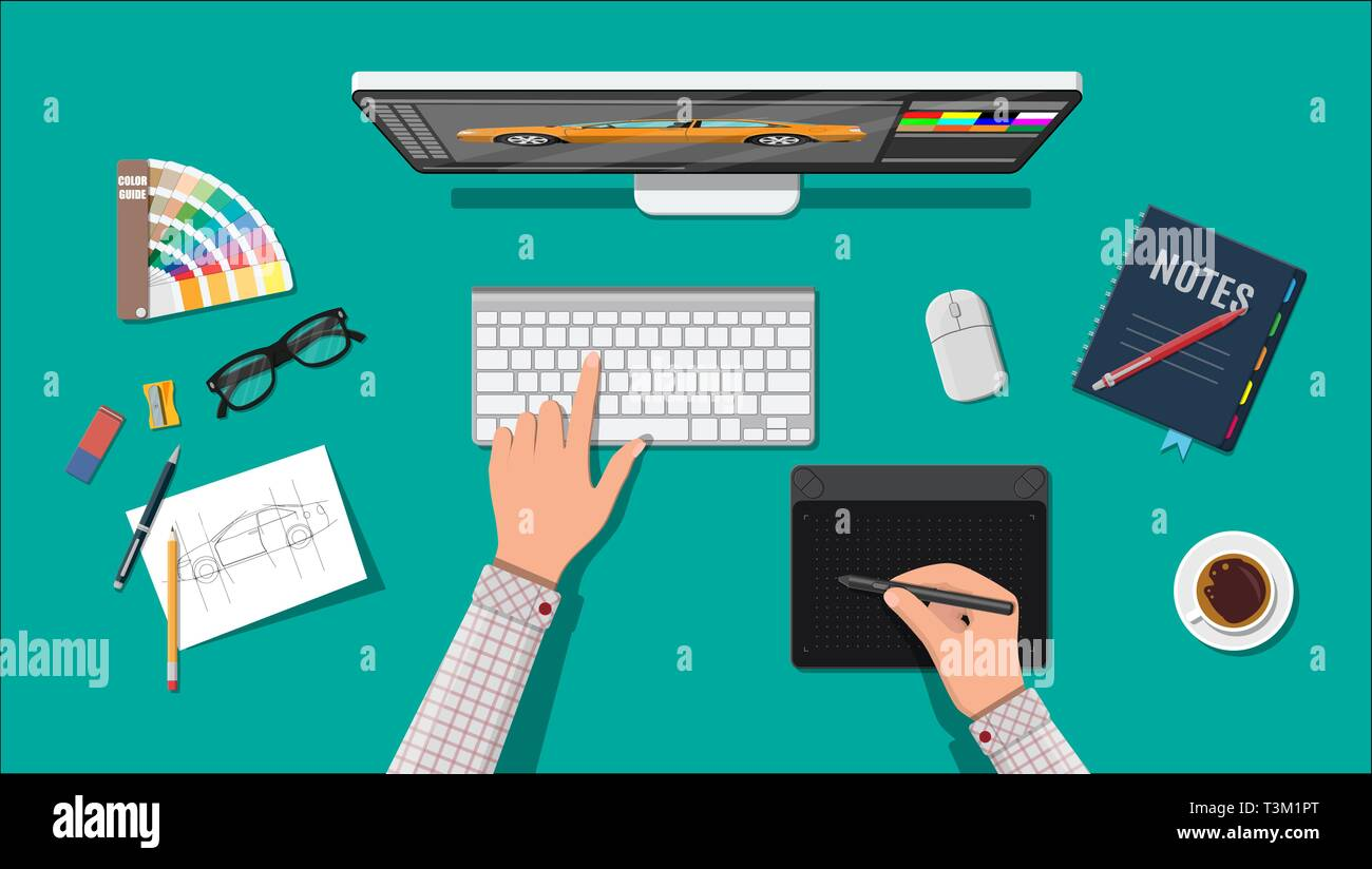 Designer Workplace Illustrator Desktop With Tools Desktop Pc Keyboard Mouse Glasses Notes Pen Coffee Sketch On Paper Blank Hands Drawing On Stock Vector Image Art Alamy