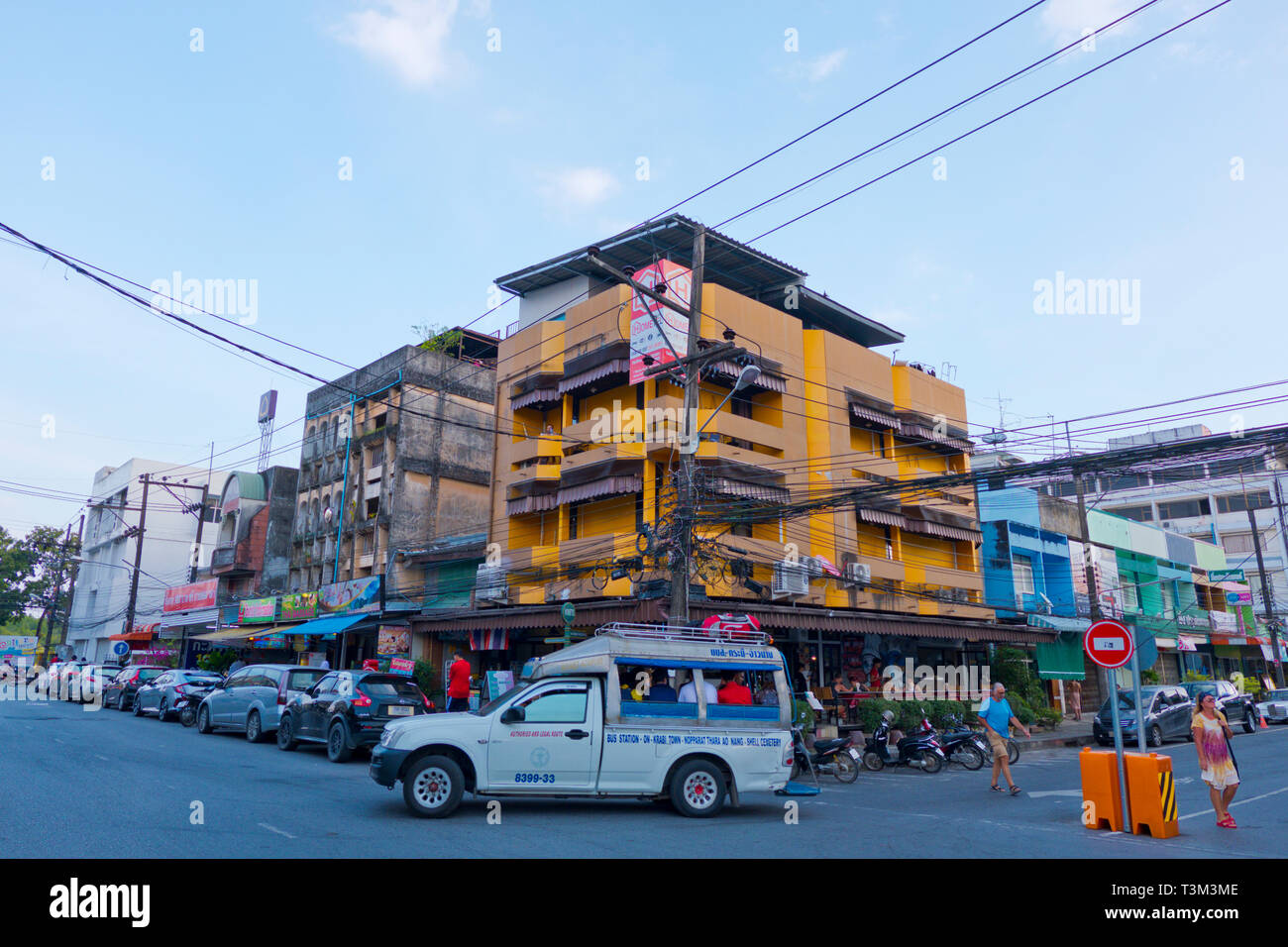 Songthaew, share bus going to bus station, Ao Nang and other places, Krabi town, Thailand - Stock Image