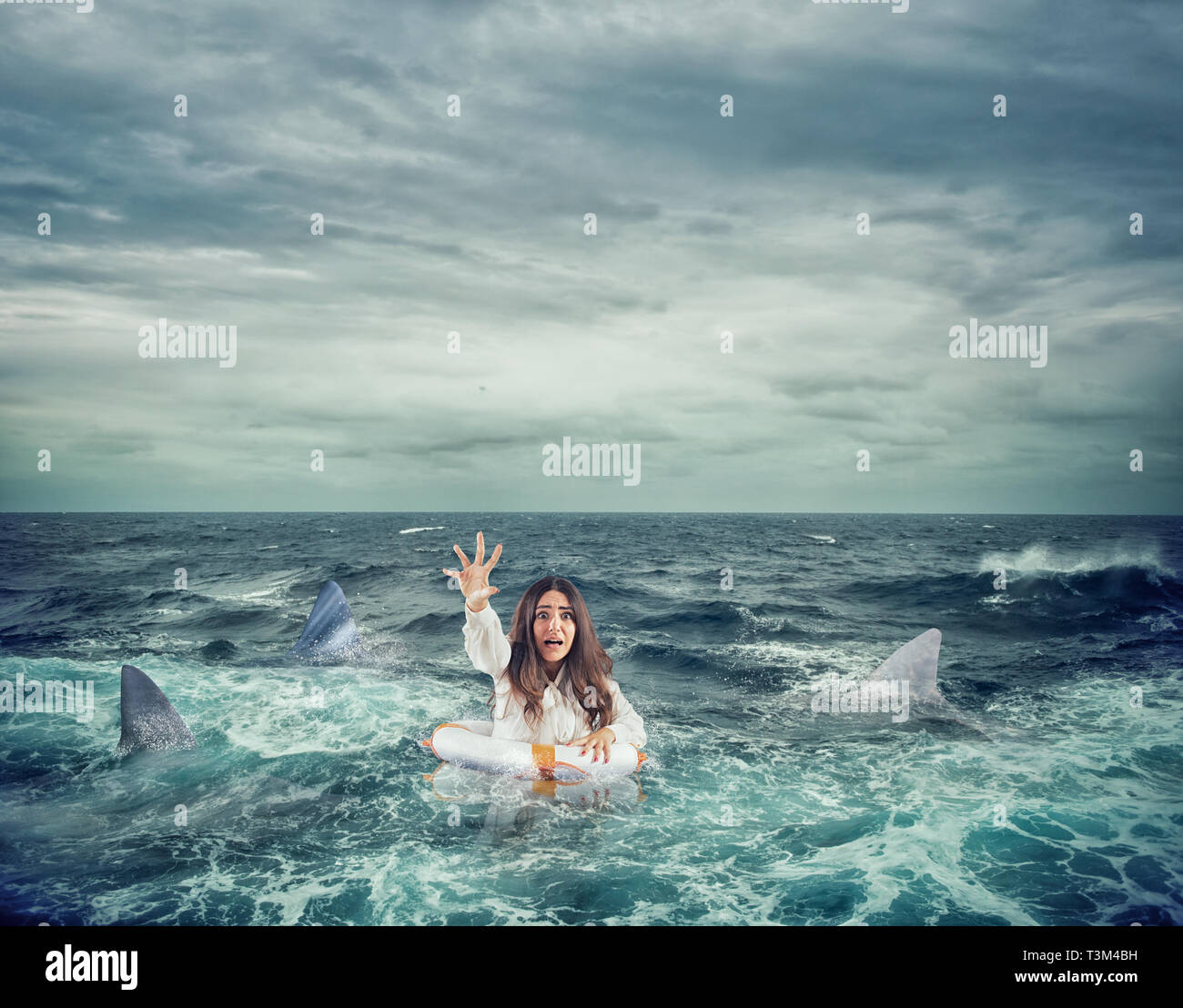 Businesswoman with lifebelt surrounded by sharks asks help - Stock Image