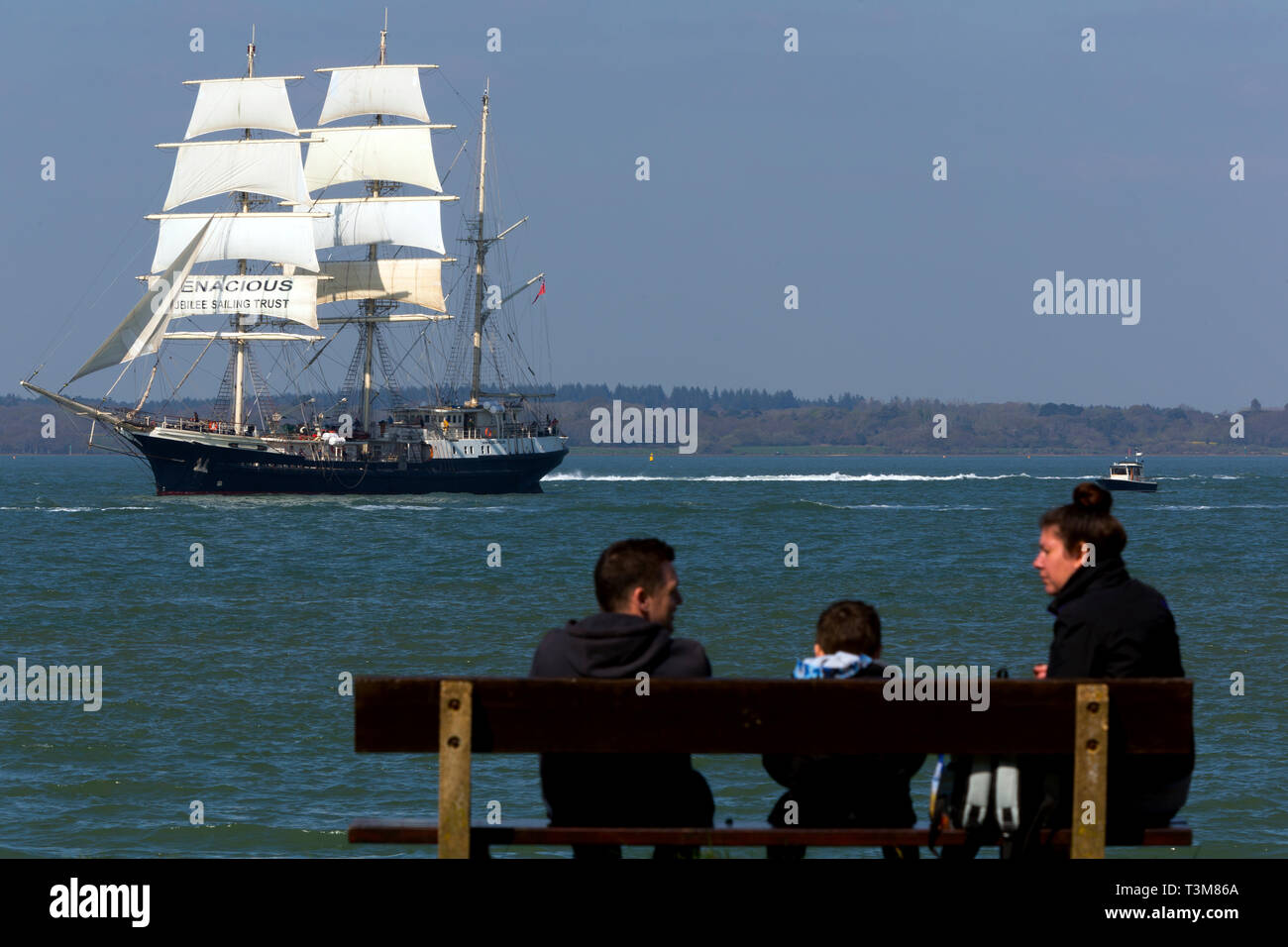 Jubilee,Sailing,Trust,tall,ship,gaffer,old,sail,training,Tenacious, Fort, Victoria,The Solent,Cowes,isle of Wight,England,UK, Stock Photo