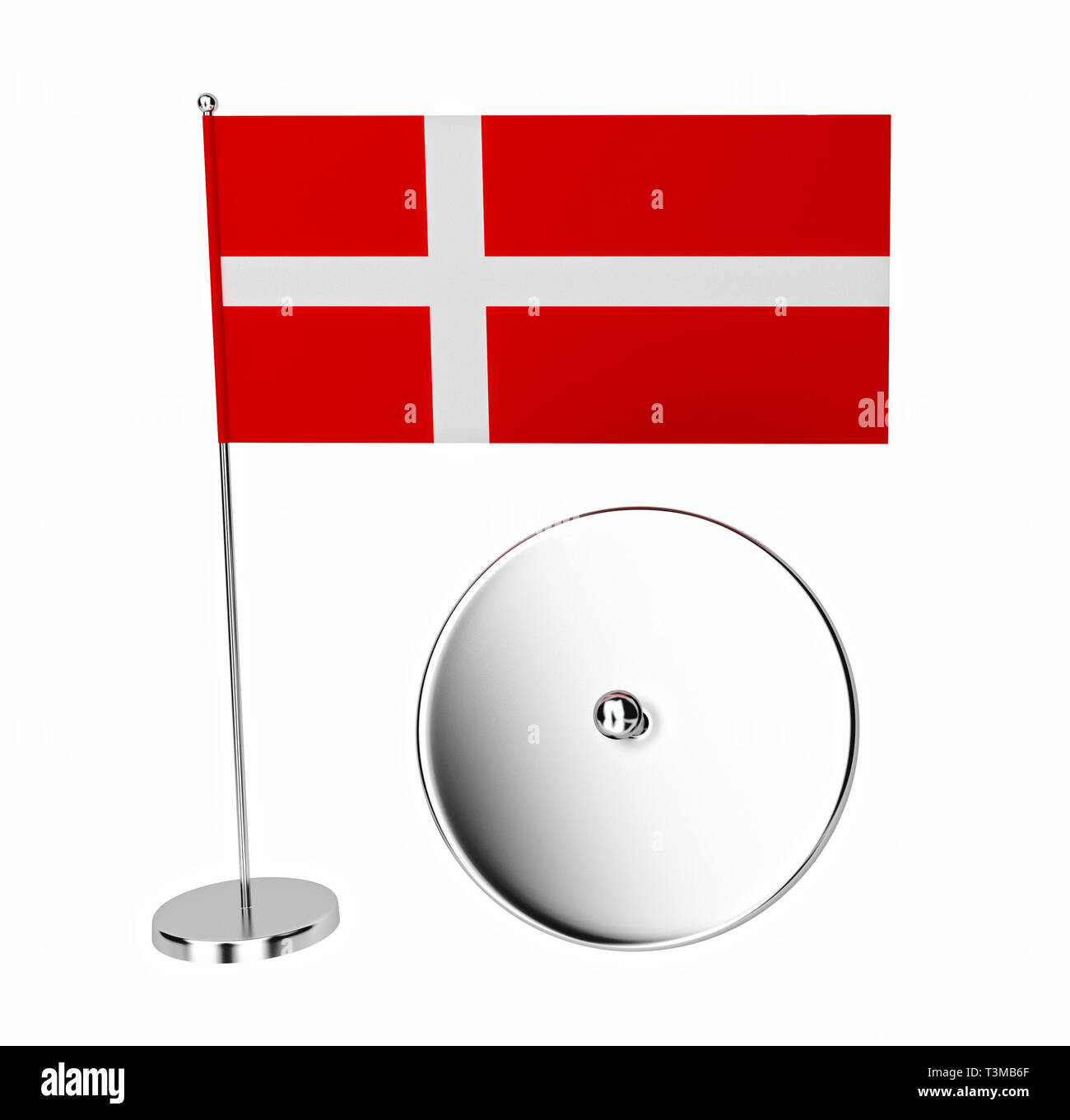 Fabric Denmark Flag Mockup with Free Space for Yours Design on Steel Spire Pedestal on a white background. 3d Rendering - Stock Image