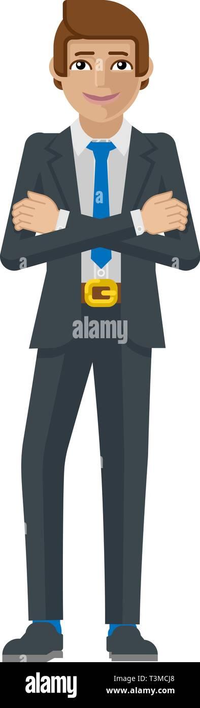Business Man Cartoon Character Mascot - Stock Image