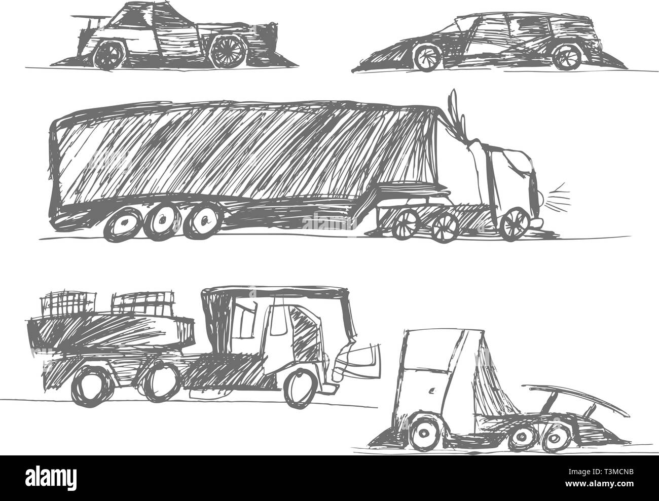 Childrens drawings cars stock image