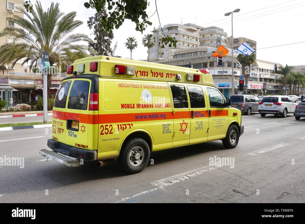Magen David Adom Ambulance in Israel - Stock Image