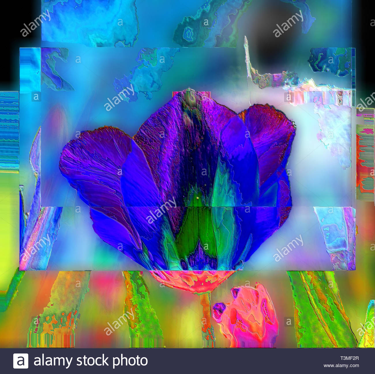 Vibrant abstract indigo tulip head, textured with multi-layered patchwork look, metal foil finish. - Stock Image
