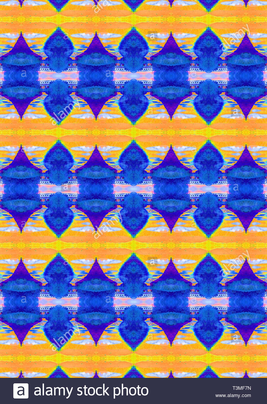 Eastern asiatic style design in blue and yellow. Repeating pattern. Suitable for greetings cards and fabrics. - Stock Image