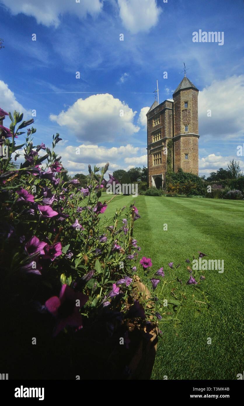 Sissinghurst Castle Garden with Elizabethan tower, near Royal Tunbridge Wells, Kent, England, UK - Stock Image