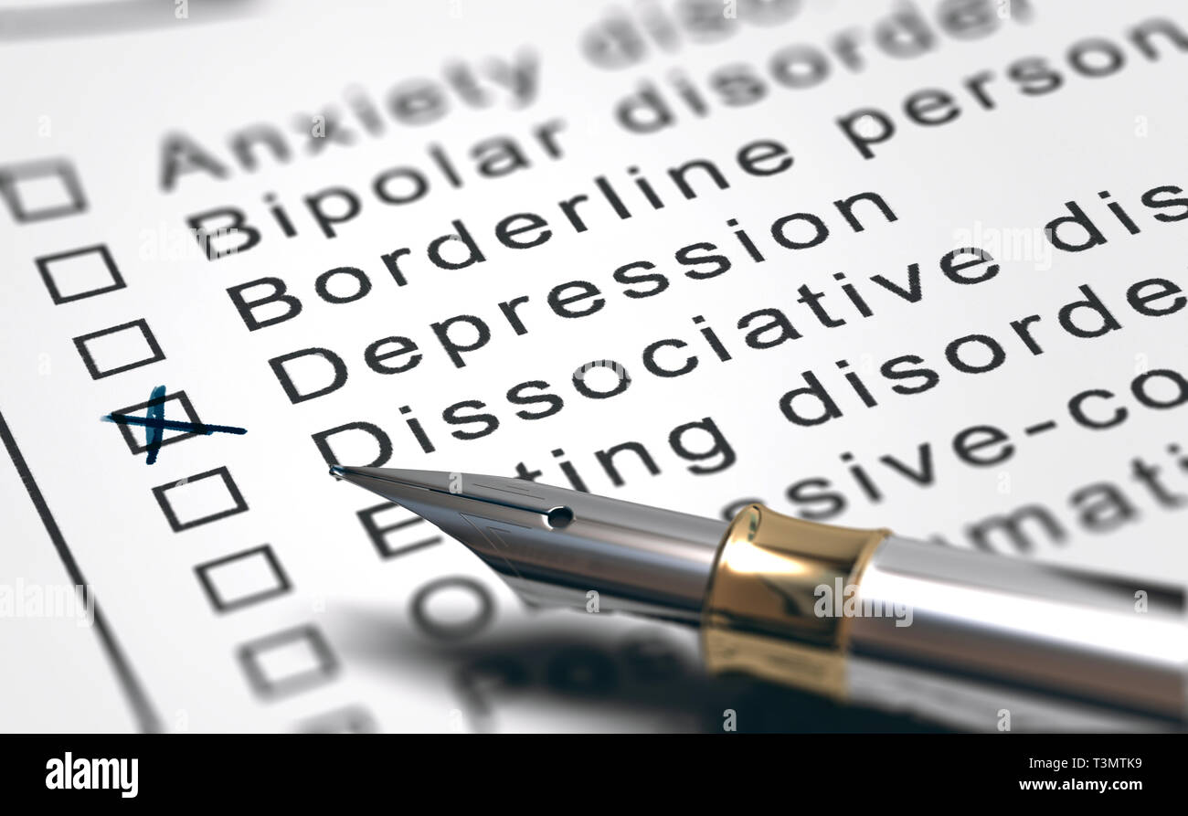 3D illustration of a sheet of paper with a list of mental health disorders with diagnosis of depression and a fountain pen - Stock Image