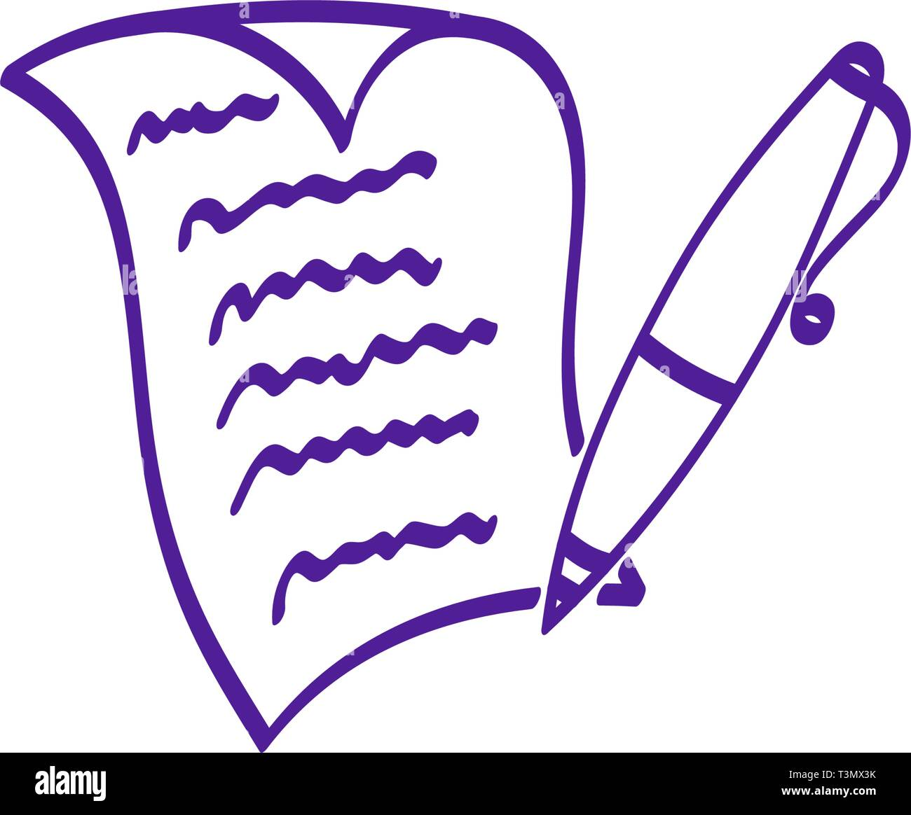 Written paper sheet with pen hand drawn vector icon. Curved corner page. Contract, letter, creative writing design concept scetch - Stock Vector