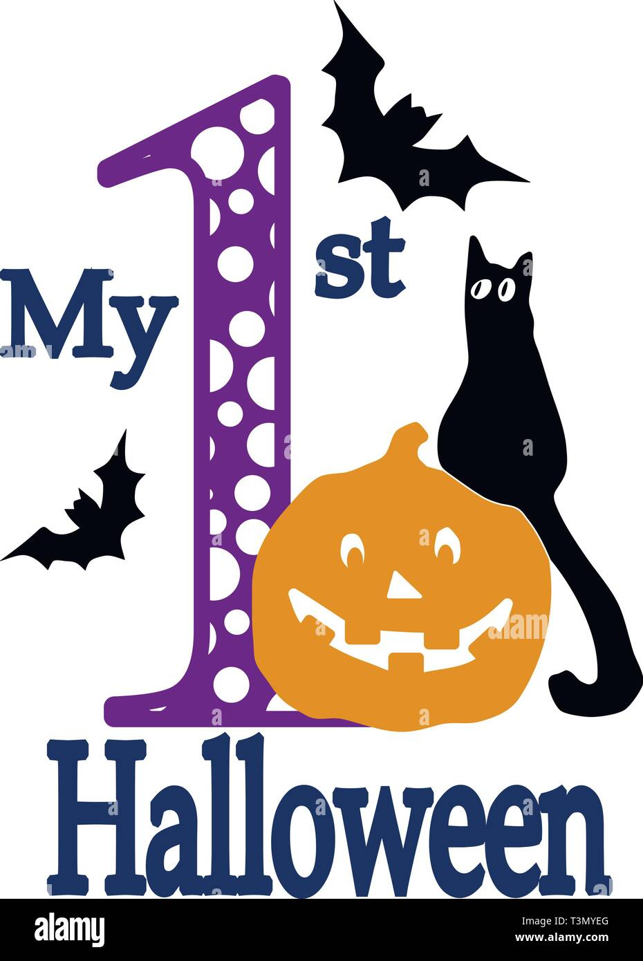 My First Halloween Clipart - Stock Vector