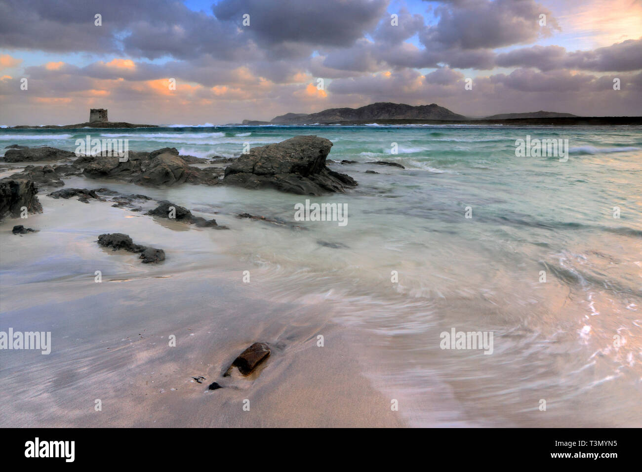 A view at sunrise of the wonderful, tropical-like beach of La Pelosa nearby Stintino in Sardinia, Italy, with the XVI century Genovese watch tower and - Stock Image