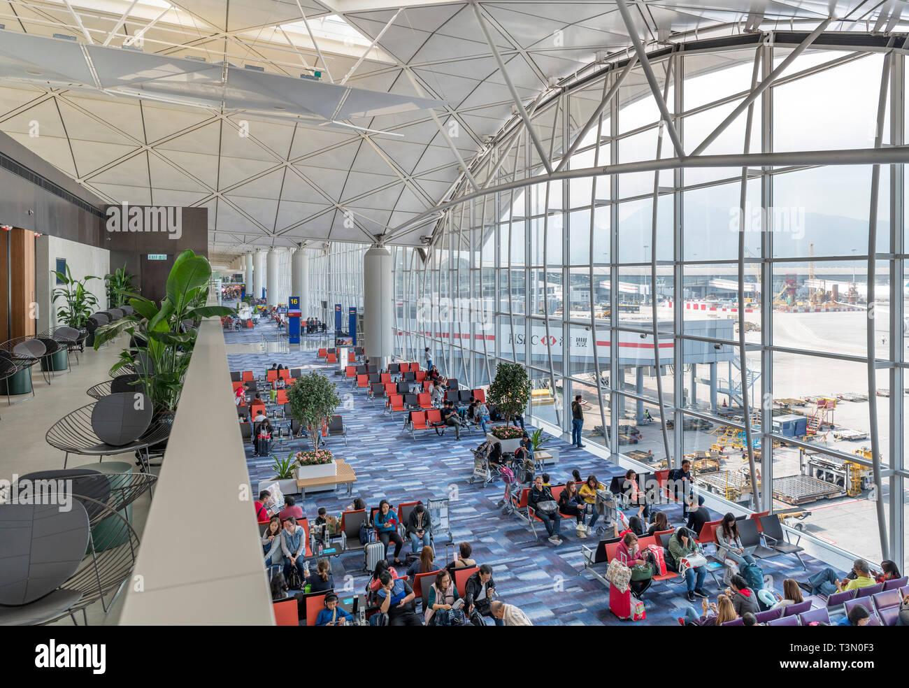 Departure lounges at Hong Kong International Airport, Chep Lak Kok, Hong Kong, China - Stock Image