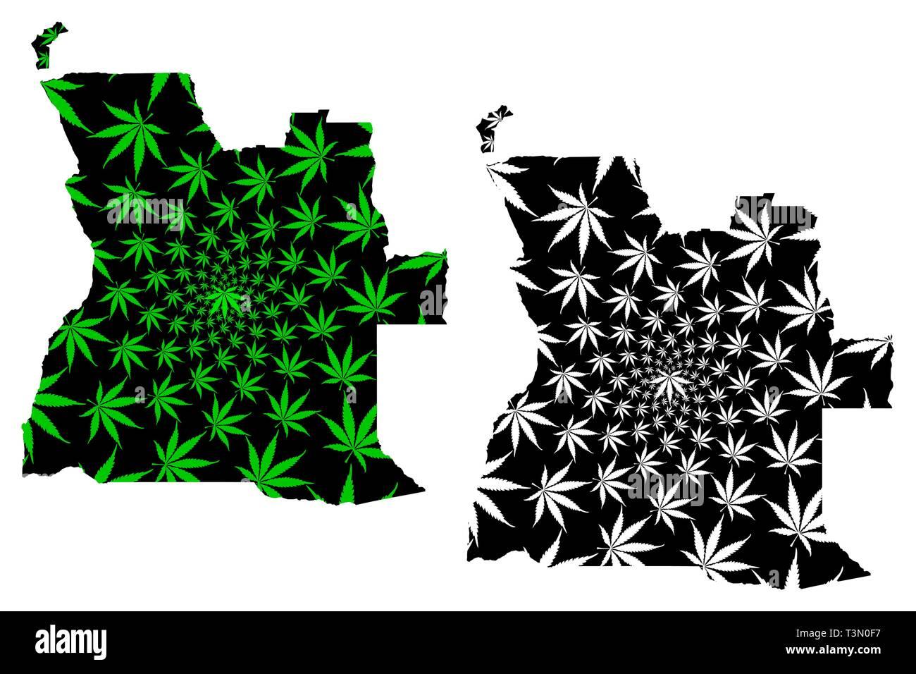 Angola - map is designed cannabis leaf green and black, Republic of Angola map made of marijuana (marihuana,THC) foliage, - Stock Image