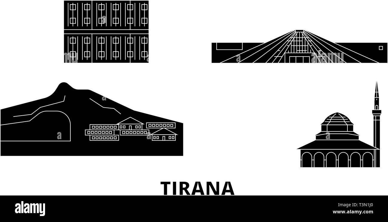 Albania, Tirana flat travel skyline set. Albania, Tirana black city vector illustration, symbol, travel sights, landmarks. - Stock Vector