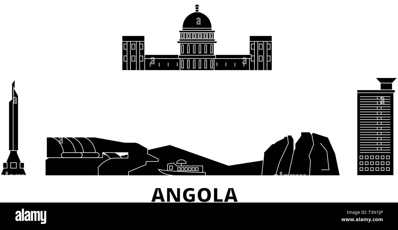 Angola  flat travel skyline set. Angola  black city vector illustration, symbol, travel sights, landmarks. - Stock Vector