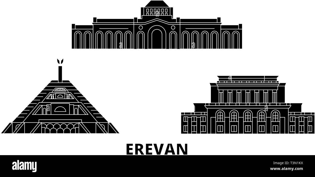Armenia, Erevan flat travel skyline set. Armenia, Erevan black city vector illustration, symbol, travel sights, landmarks. - Stock Image