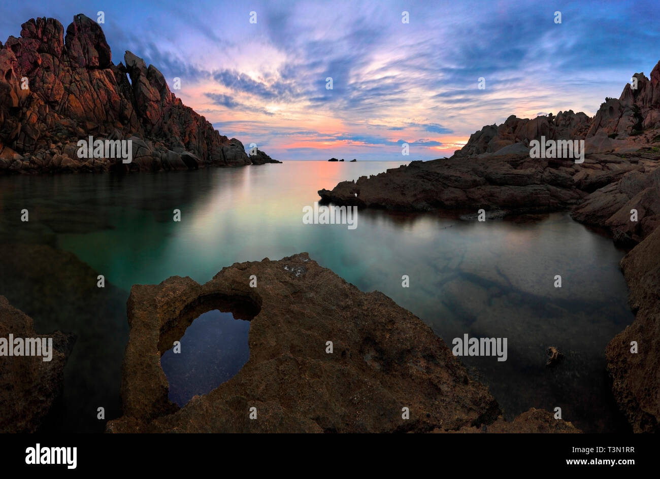 Cala Grande, one of the many small bays of the amazing rocky promontory known as Capo Testa, just off Santa Teresa di Gallura in Sardinia, Italy. Take - Stock Image