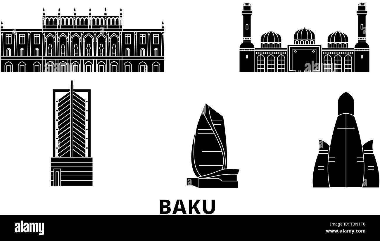 Azerbaijan, Baku flat travel skyline set. Azerbaijan, Baku black city vector illustration, symbol, travel sights, landmarks. - Stock Vector