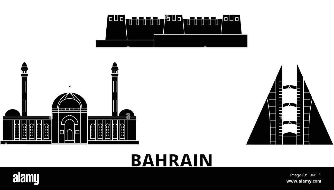 8ecb1814cf8d Bahrain flat travel skyline set. Bahrain black city vector illustration