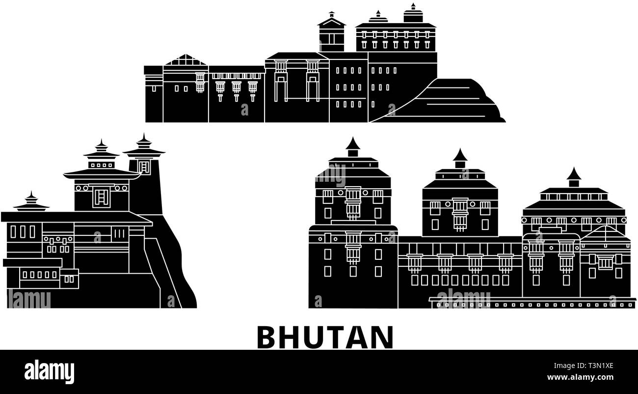 Bhutan flat travel skyline set. Bhutan black city vector illustration, symbol, travel sights, landmarks. - Stock Vector