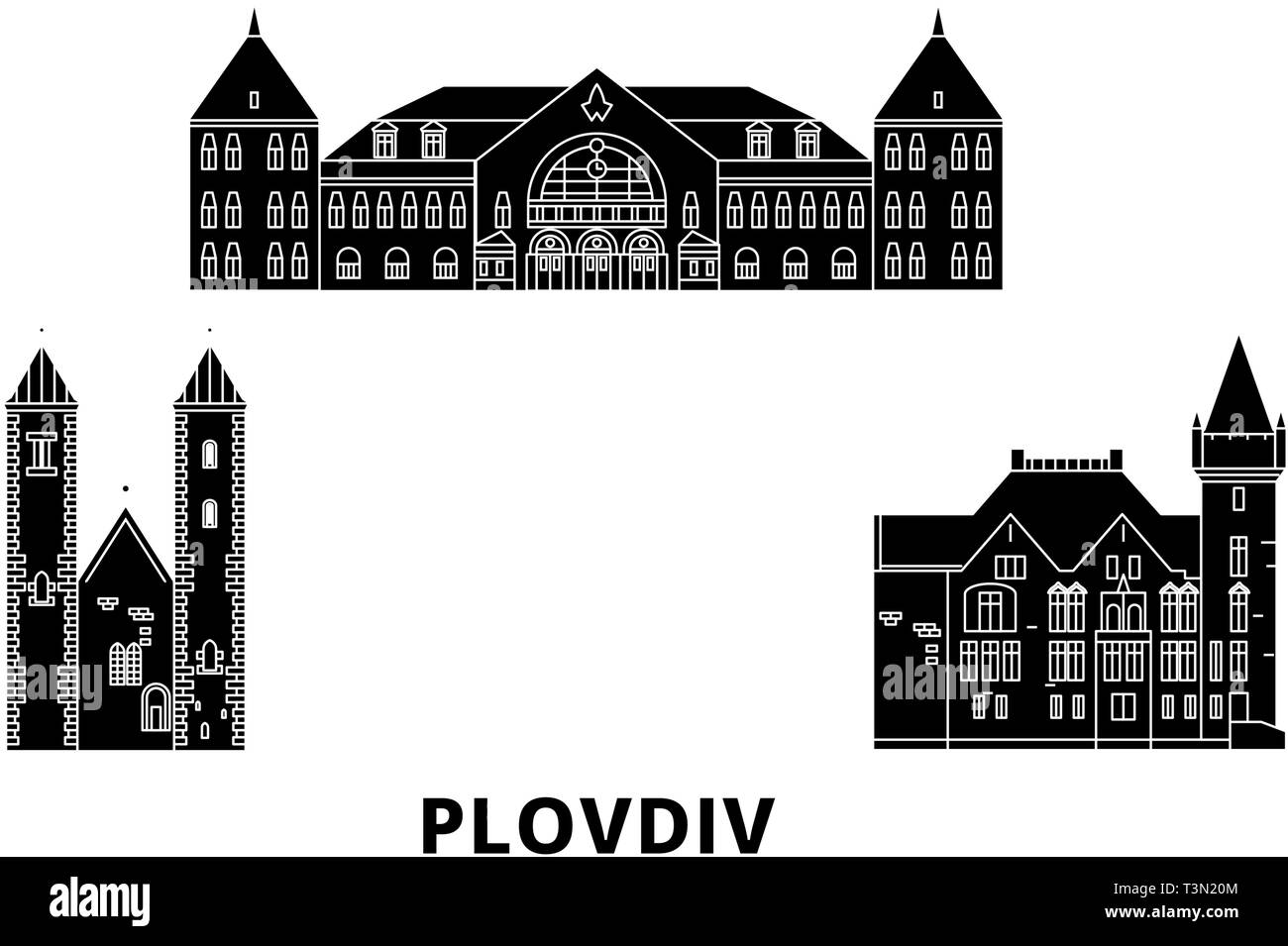 Bulgaria, Plovdiv flat travel skyline set. Bulgaria, Plovdiv black city vector illustration, symbol, travel sights, landmarks. - Stock Vector