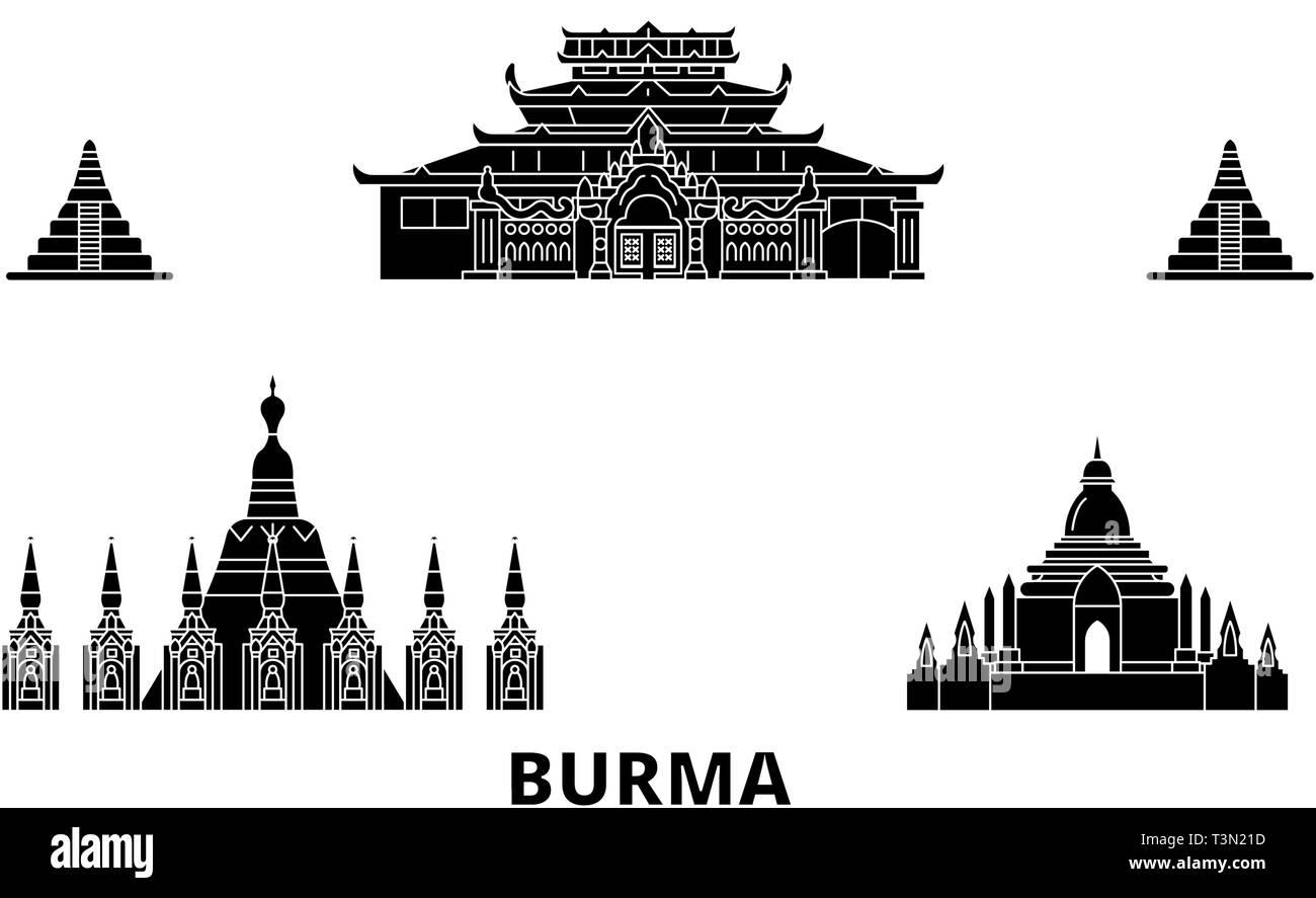 Burma flat travel skyline set. Burma black city vector illustration, symbol, travel sights, landmarks. - Stock Vector