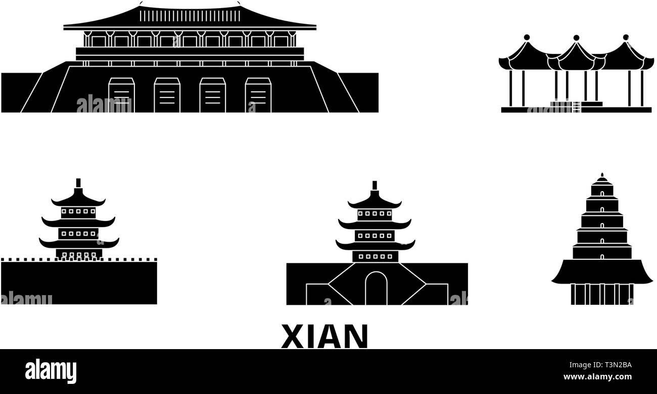 China, Xian  flat travel skyline set. China, Xian  black city vector illustration, symbol, travel sights, landmarks. - Stock Vector