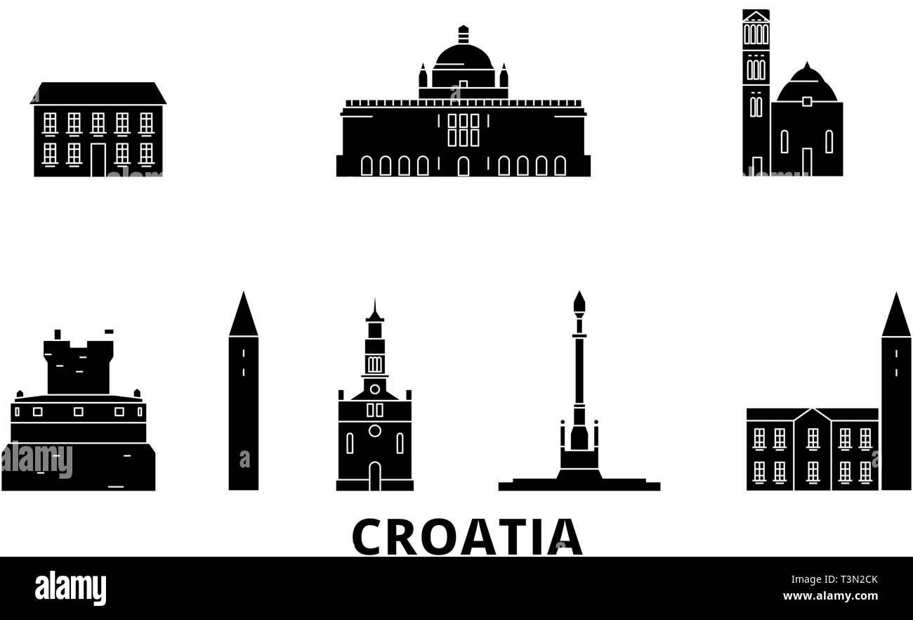 Croatia flat travel skyline set. Croatia black city vector illustration, symbol, travel sights, landmarks. - Stock Image