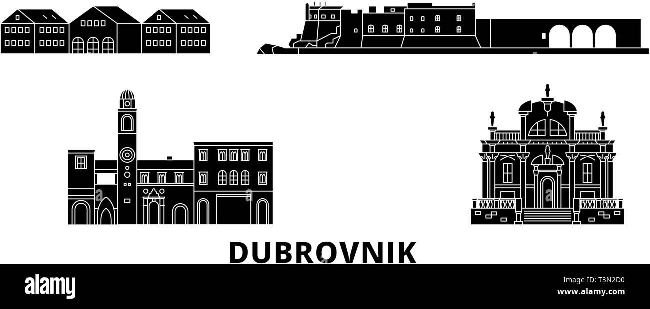 Croatia, Dubrovnik flat travel skyline set. Croatia, Dubrovnik black city vector illustration, symbol, travel sights, landmarks. - Stock Image